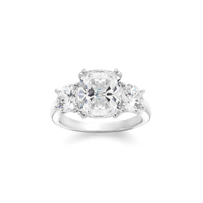 Diamonart Womens 5 3/4 CT. T.W. White Cubic Zirconia Sterling Silver 3-Stone Ring