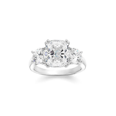 Diamonart Womens Cushion White Cubic Zirconia Sterling Silver 3-Stone Ring