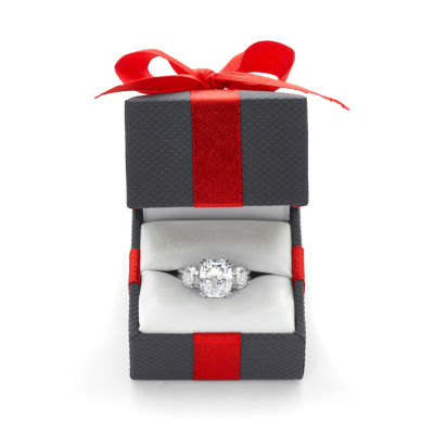 Diamonart Womens 5 3/4 CT. T.W. White Cubic Zirconia Sterling Silver 3-Stone Ring