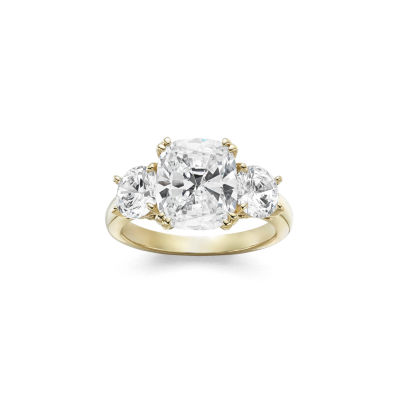 Diamonart Womens 5 3/4 CT. T.W. White Cubic Zirconia 14K Gold Over Silver 3-Stone Engagement Ring