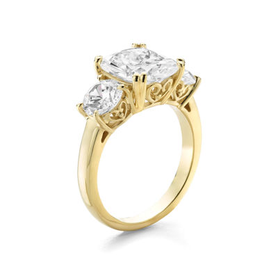 Diamonart Womens 5 3/4 CT. T.W. White Cubic Zirconia 14K Gold Over Silver 3-Stone Ring