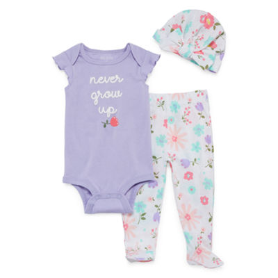 Okie Dokie Floral Bodysuit, Footed Pant, & Hat Set - Baby Girl NB-9M