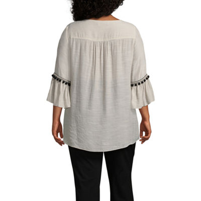 Alyx 3/4 Sleeve Round Neck Woven Blouse - Plus