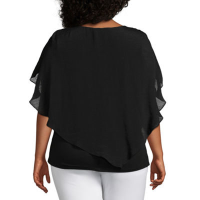 Alyx Short Sleeve V Neck Woven Blouse - Plus