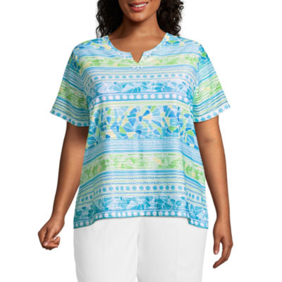 Alfred Dunner Turks & Caicos Biadere Tee- Plus