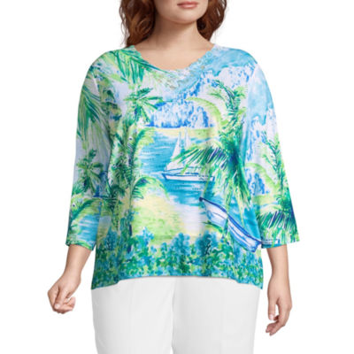 Alfred Dunner Turks & Caicos Scenic Tee- Plus
