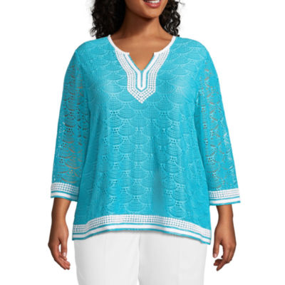 Alfred Dunner Turks & Caicos Lace Tunic- Plus