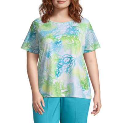 Alfred Dunner Turks & Caicos Coral Reef Tee- Plus