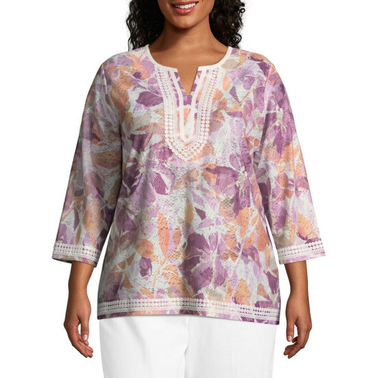 Alfred Dunner Los Cabos Floral Lace Trim Tunic- Plus