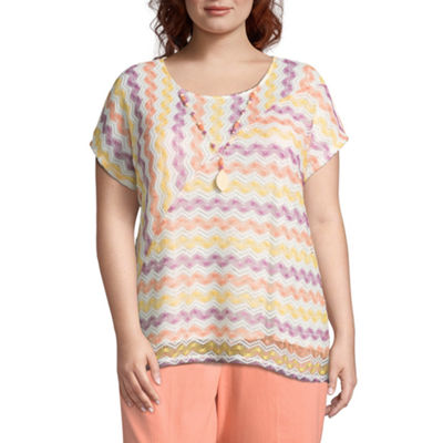 Alfred Dunner Short Sleeve Crew Neck Pattern T-Shirt - Plus