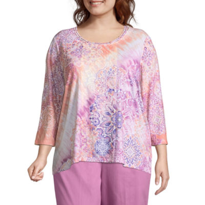 Alfred Dunner Los Cabos Medallion Lace Trim Tee - Plus