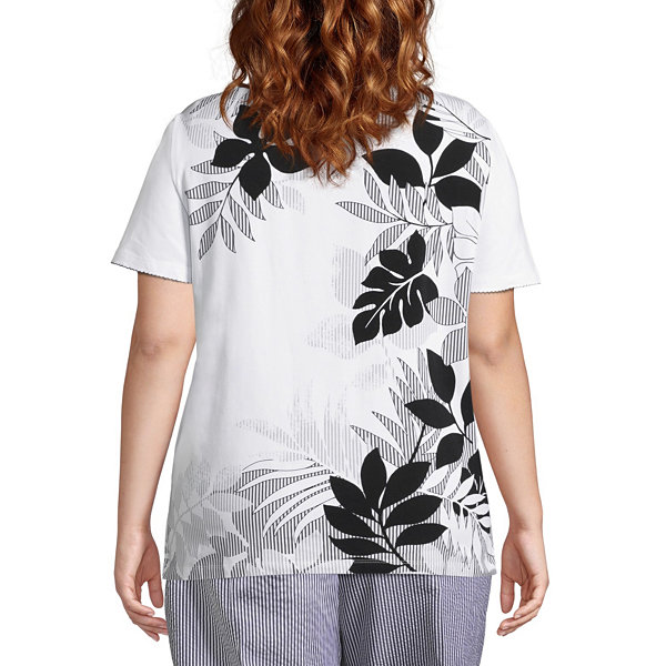 Alfred Dunner Perfect Match Tropical Border Tee- Plus