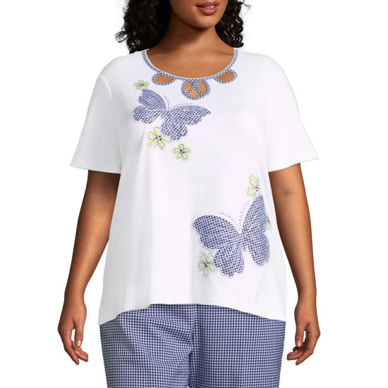Alfred Dunner Perfect Match Gingham Butterfly Tee- Plus