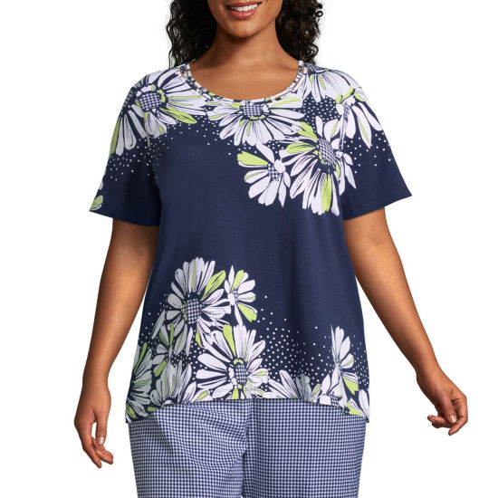 Alfred Dunner Perfect Match Gingham Daisy Tee- Plus
