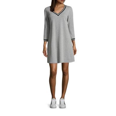 Luxology 3/4 Sleeve DENIM A-Line Dress