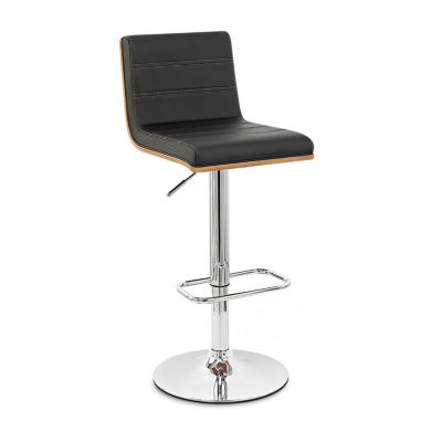 Armen Living Aubrey Barstool in Faux Leather and Chrome Finish with Walnut Back