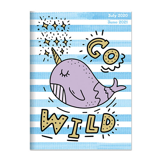 "Tf Publishing July 2020 - June 2021 Go Wild Narwhal Medium 7.5"" X 10.25"" Monthly Planner"
