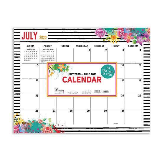 """Tf Publishing July 2020 - June 2021 Floral Large 17"""" X 22"""" Desk Pad Monthly Blotter Desktop Calendar"""