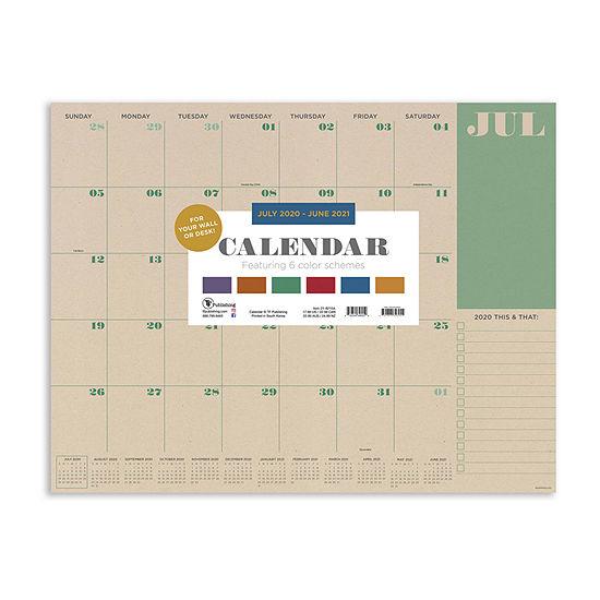 "Tf Publishing July 2020 - June 2021 Kraft Large 17"" X 22"" Desk Pad Monthly Blotter Desktop Calendar"