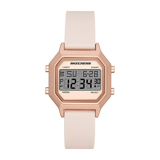 Skechers Faysmith Womens Chronograph Digital Pink Strap Watch-Sr6195