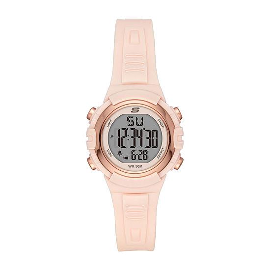 Skechers Truro Womens Chronograph Digital Pink Strap Watch-Sr6187
