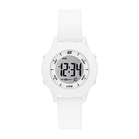 Skechers Rosencrans Womens Chronograph Digital White Strap Watch-Sr6142, One Size