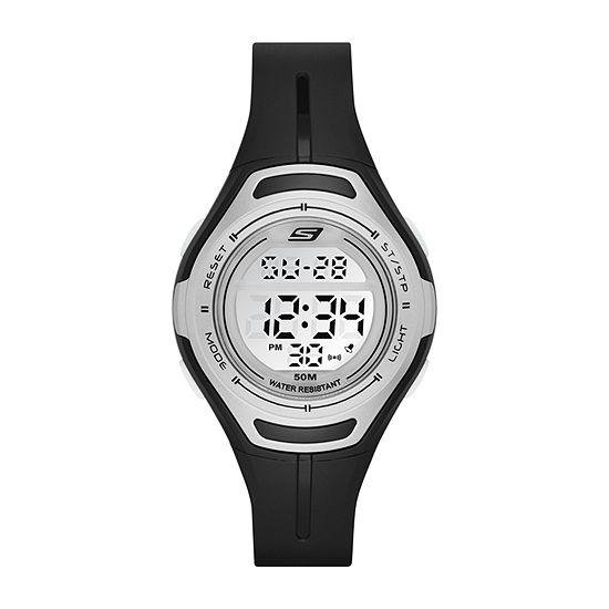 Skechers Artesia Womens Chronograph Digital Black Strap Watch-Sr2014