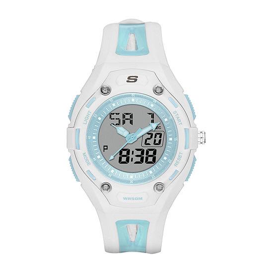 Skechers Liberty Womens Chronograph White Strap Watch-Sr2052