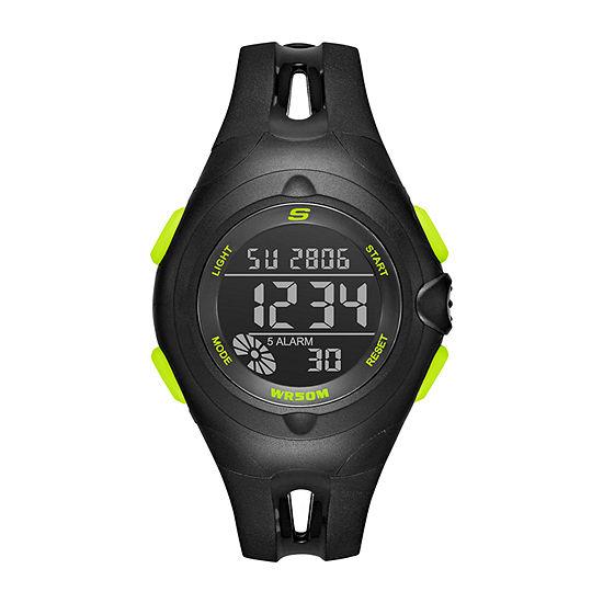 Skechers Tree Womens Chronograph Digital Black Strap Watch-Sr2079