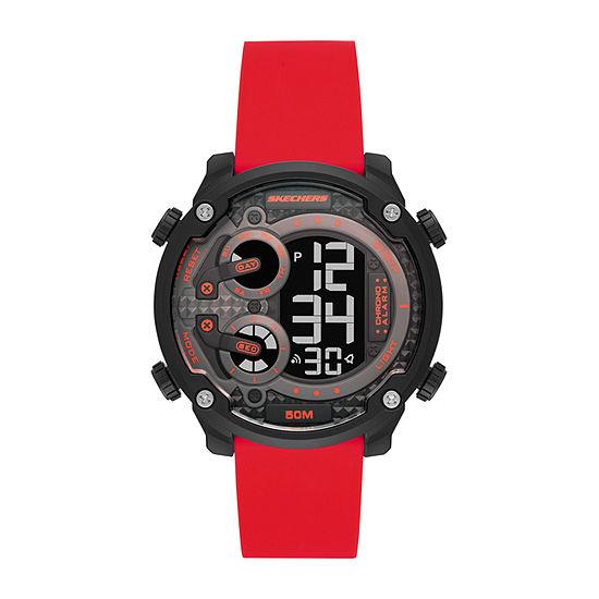 Skechers Gould Mens Chronograph Digital Red Strap Watch-Sr5118