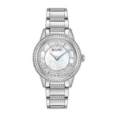 Bulova Turnstyle Womens Crystal Accent Silver Tone Stainless Steel Bracelet Watch 96l257