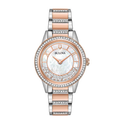 Bulova Turnstyle Womens Crystal Accent Two Tone Stainless Steel Bracelet Watch 98l246
