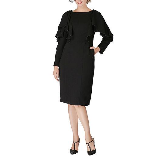 Giovanna Signature-Plus Long Sleeve Midi Shift Dress