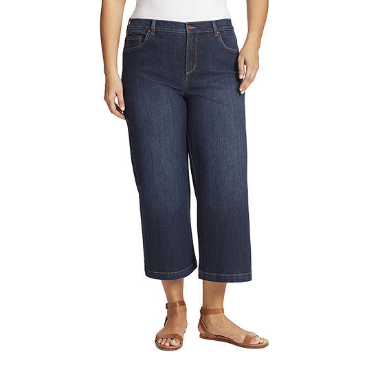 Gloria Vanderbilt - Plus Amanda Womens High Rise Wide Leg Cropped Jean