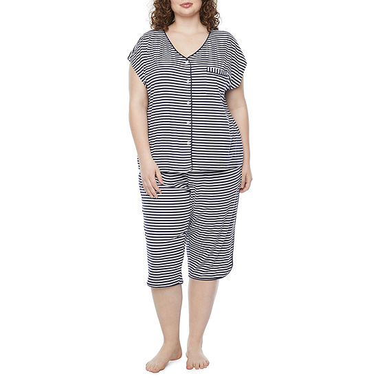 Liz Claiborne Womens-Plus 2-pc. Capri Pajama Set Short Sleeve V-Neck