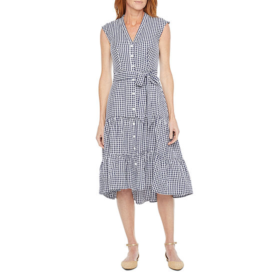 Melonie T Short Sleeve Gingham Fit & Flare Dress
