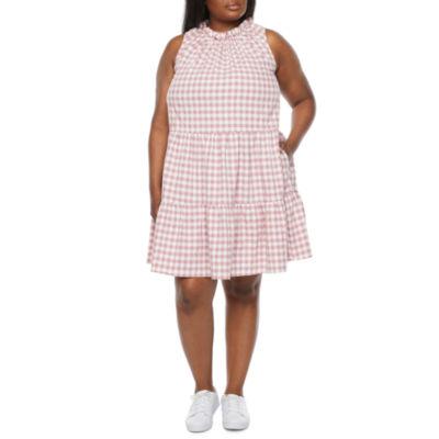 Isabel & Nina-Plus Sleeveless Gingham Shift Dress