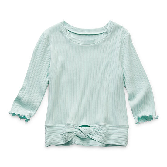 Arizona Little & Big Girls Round Neck 3/4 Sleeve T-Shirt