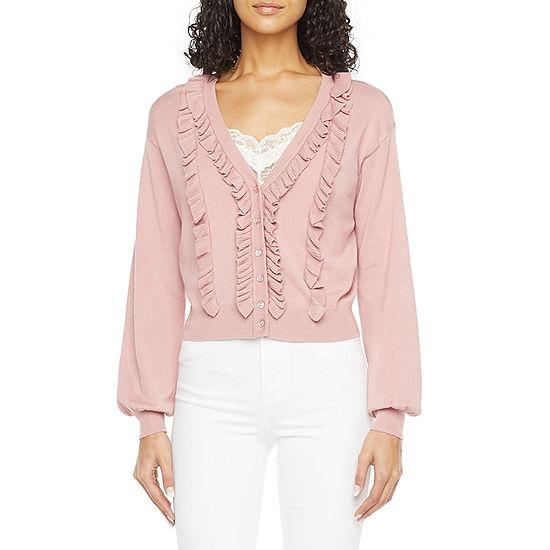Ryegrass Womens Ruffle Long Sleeve Button Cardigan
