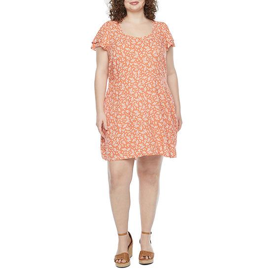 a.n.a Short Sleeve A-Line Dress Plus