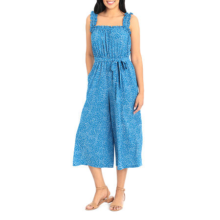 Clover And Sloane Sleeveless Belted Cropped Jumpsuit, 2 , Blue