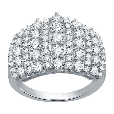 Womens 2 CT. T.W. Genuine Diamond 10K White Gold Cluster Cocktail Ring, 5