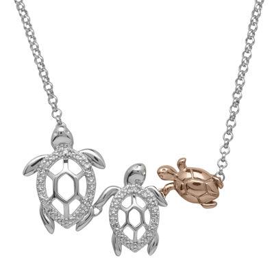Diamond-Accent Two-Tone Turtle Pendant Necklace