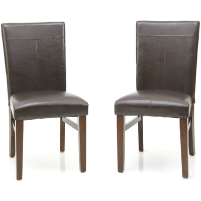 Landry Set of 2 Faux-Leather Parsons Dining Chairs