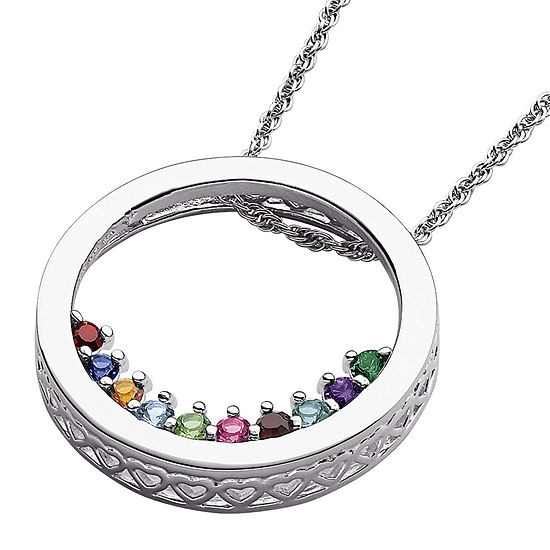 Personalized Family Birthstone Sterling Silver Circle Slider Pendant Necklace