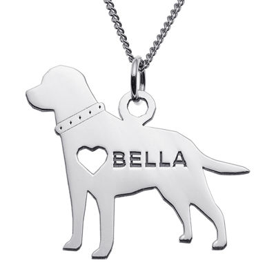 Personalized Labrador Sterling Silver Pendant Necklace