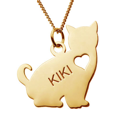 Personalized Sitting Cat 14K Yellow Gold Over Sterling Silver Pendant Necklace