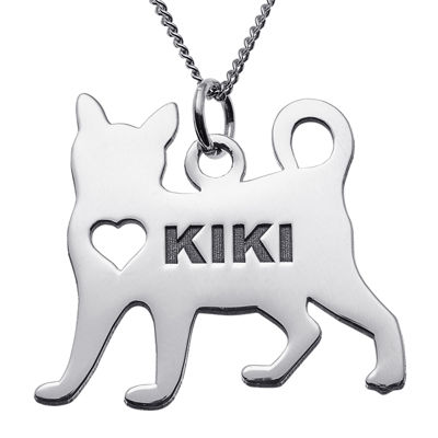 Personalized Standing Cat Sterling Silver Pendant Necklace