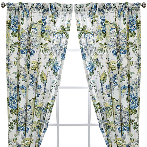Waverly Floral Engagement 2 Pack Rod Pocket Lined Curtain Panels Jcpenney