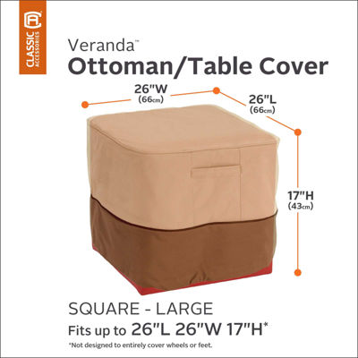 Classic Accessories® Veranda Large Square Ottoman/Side Table Cover